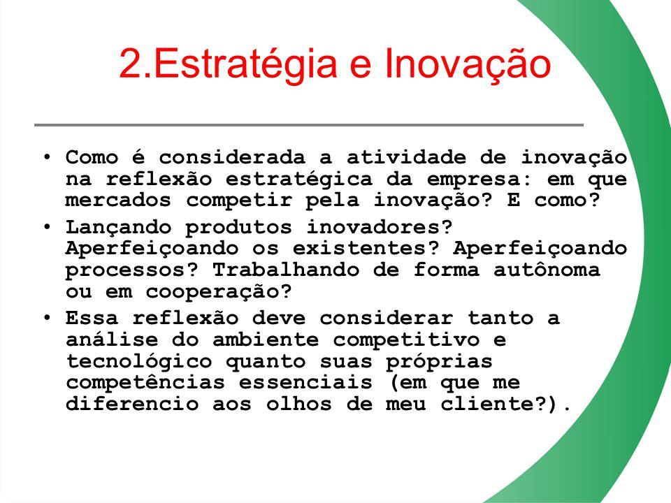 2.Estratégia e Inovação Como é considerada a atividade de inovação na reflexão estratégica da empresa: em que mercados competir pela inovação? E como?