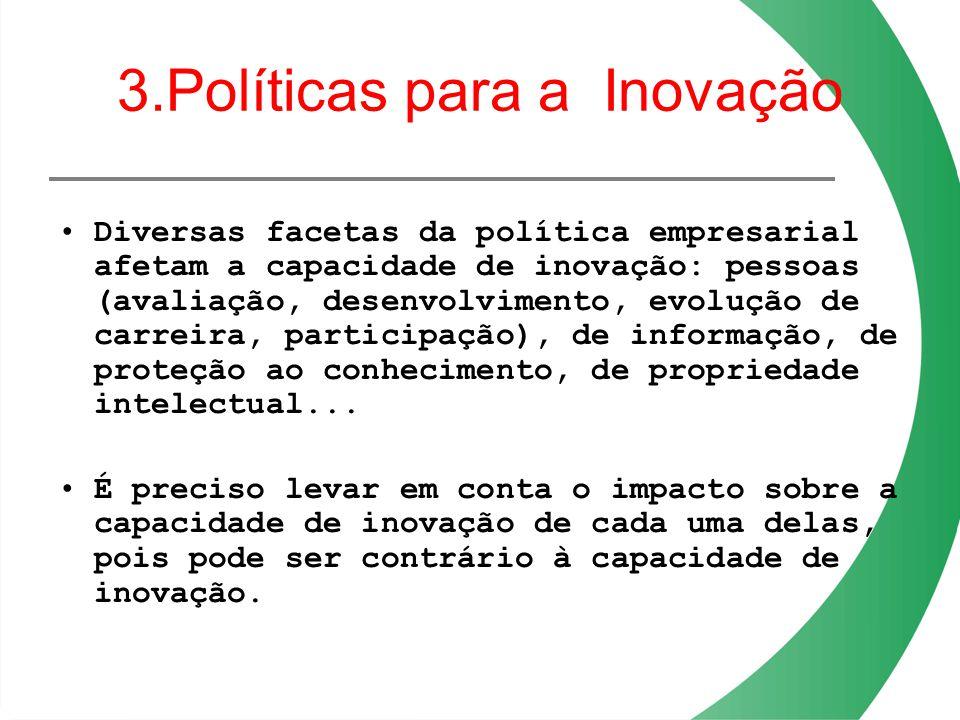 3.Políticas para a Inovação Diversas facetas da política empresarial afetam a capacidade de inovação: pessoas (avaliação, desenvolvimento, evolução de