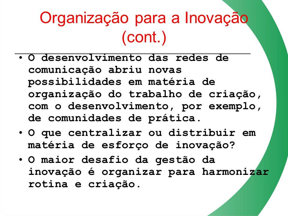 Organização para a Inovação (cont.) O desenvolvimento das redes de comunicação abriu novas possibilidades em matéria de organização do trabalho de cri