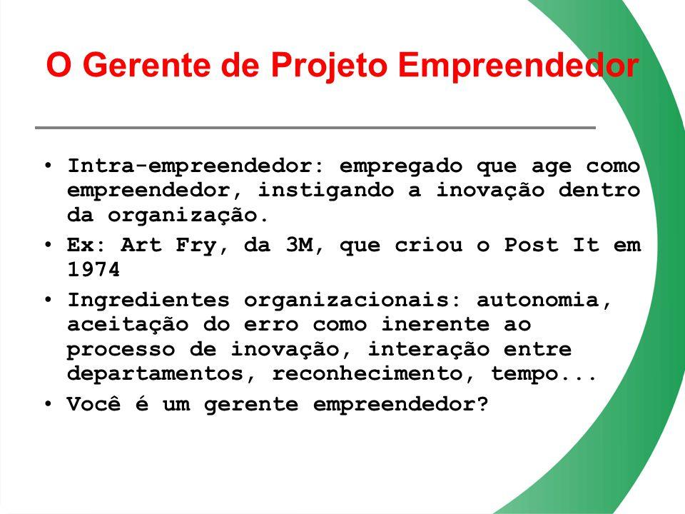 O Gerente de Projeto Empreendedor Intra-empreendedor: empregado que age como empreendedor, instigando a inovação dentro da organização. Ex: Art Fry, d