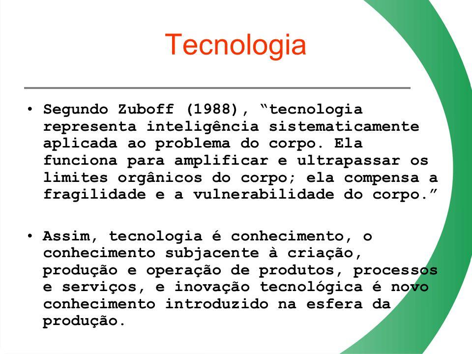 Tecnologia Segundo Zuboff (1988), tecnologia representa inteligência sistematicamente aplicada ao problema do corpo. Ela funciona para amplificar e ul