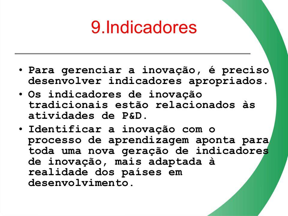9.Indicadores Para gerenciar a inovação, é preciso desenvolver indicadores apropriados. Os indicadores de inovação tradicionais estão relacionados às