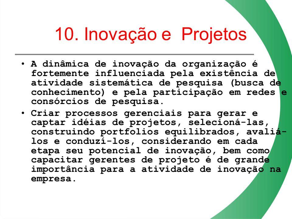 10. Inovação e Projetos A dinâmica de inovação da organização é fortemente influenciada pela existência de atividade sistemática de pesquisa (busca de