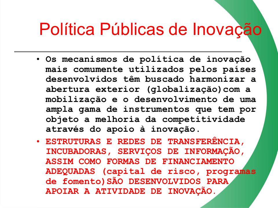 Política Públicas de Inovação Os mecanismos de política de inovação mais comumente utilizados pelos países desenvolvidos têm buscado harmonizar a aber