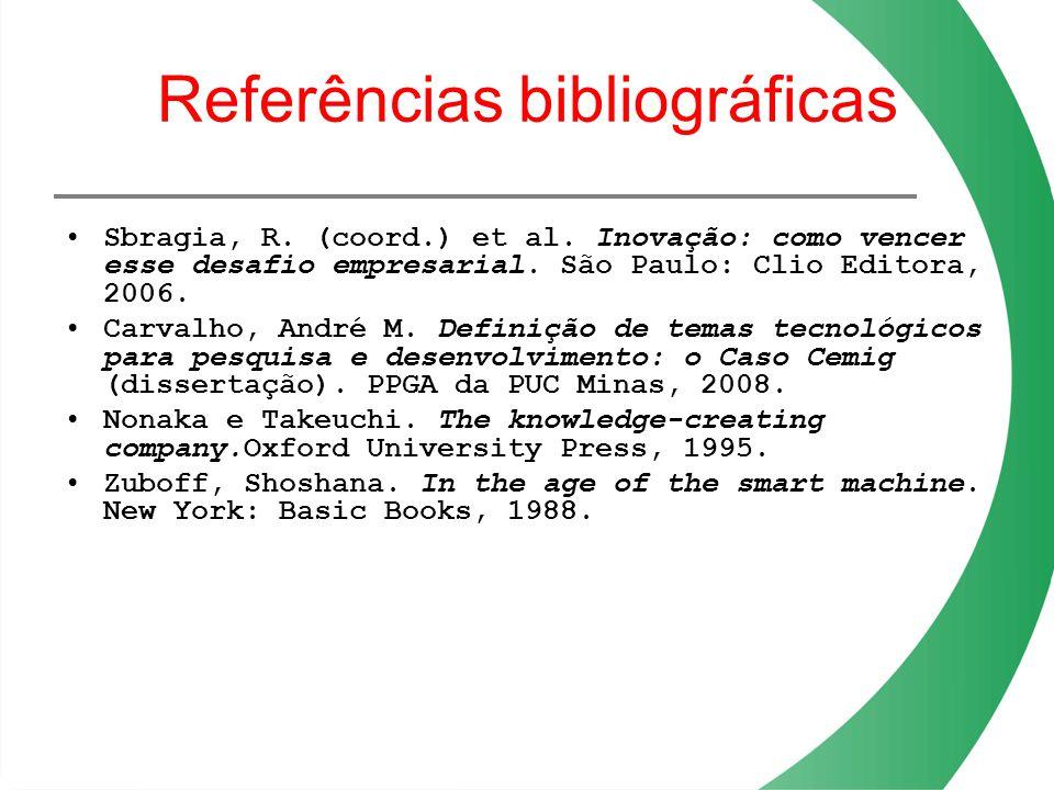 Referências bibliográficas Sbragia, R. (coord.) et al. Inovação: como vencer esse desafio empresarial. São Paulo: Clio Editora, 2006. Carvalho, André