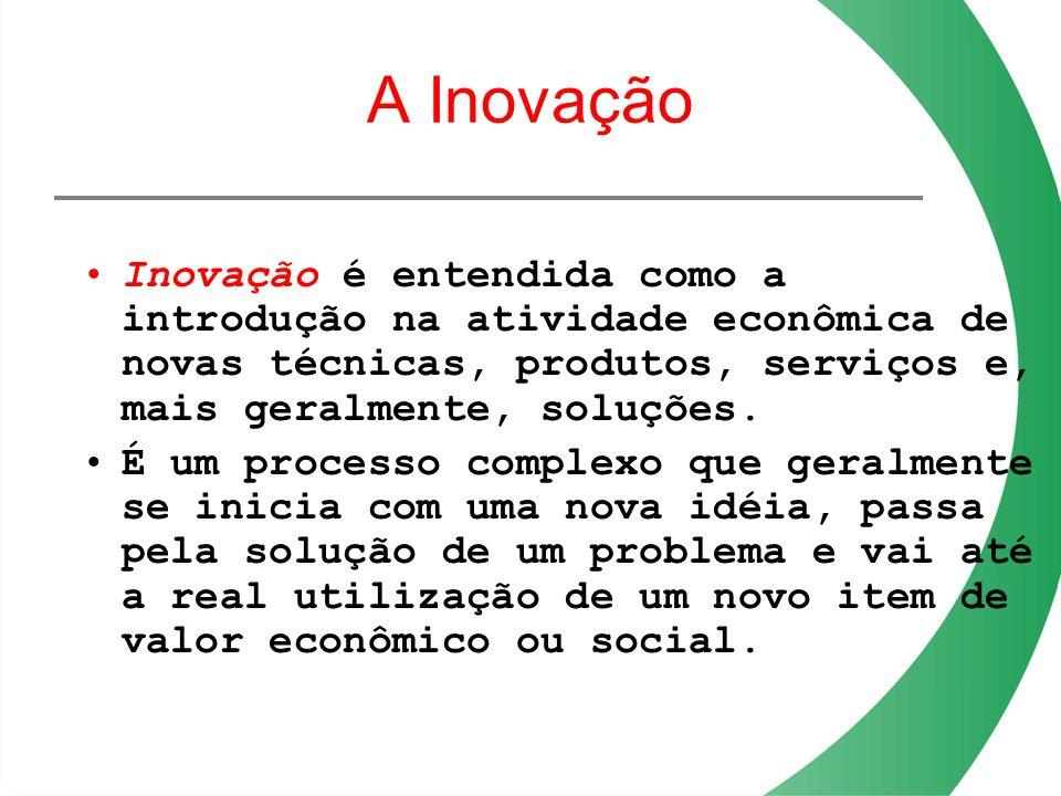 A Inovação Inovação é entendida como a introdução na atividade econômica de novas técnicas, produtos, serviços e, mais geralmente, soluções. É um proc