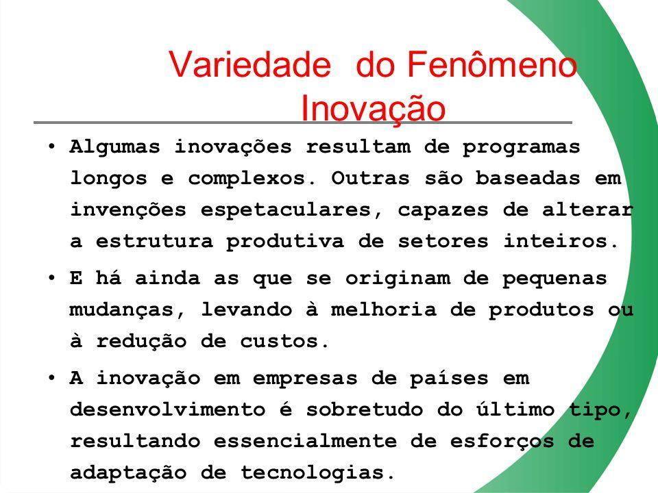 Variedade do Fenômeno Inovação Algumas inovações resultam de programas longos e complexos. Outras são baseadas em invenções espetaculares, capazes de
