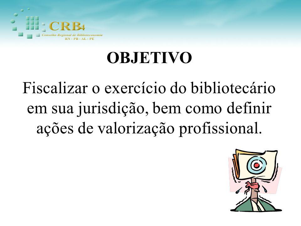 OBJETIVO Fiscalizar o exercício do bibliotecário em sua jurisdição, bem como definir ações de valorização profissional.