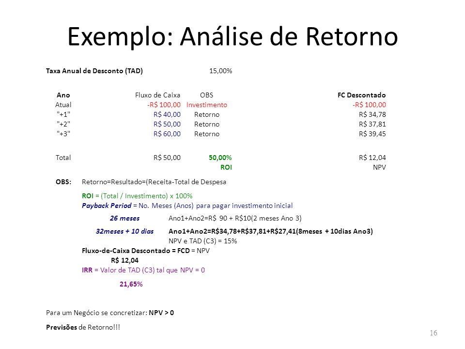 Exemplo: Análise de Retorno 16 Taxa Anual de Desconto (TAD)15,00% AnoFluxo de CaixaOBSFC Descontado Atual-R$ 100,00Investimento-R$ 100,00 +1 R$ 40,00RetornoR$ 34,78 +2 R$ 50,00RetornoR$ 37,81 +3 R$ 60,00RetornoR$ 39,45 TotalR$ 50,0050,00%R$ 12,04 ROINPV OBS:Retorno=Resultado=(Receita-Total de Despesa ROI = (Total / Investimento) x 100% Payback Period = No.