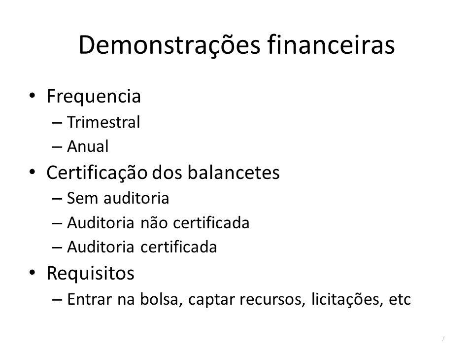 Demonstrações financeiras Frequencia – Trimestral – Anual Certificação dos balancetes – Sem auditoria – Auditoria não certificada – Auditoria certificada Requisitos – Entrar na bolsa, captar recursos, licitações, etc 7