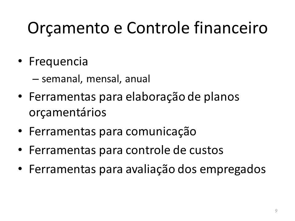 Orçamento e Controle financeiro Frequencia – semanal, mensal, anual Ferramentas para elaboração de planos orçamentários Ferramentas para comunicação Ferramentas para controle de custos Ferramentas para avaliação dos empregados 9