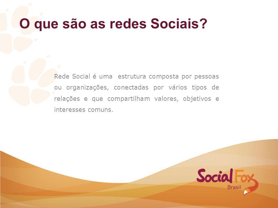 O que são as redes Sociais? Rede Social é uma estrutura composta por pessoas ou organizações, conectadas por vários tipos de relações e que compartilh
