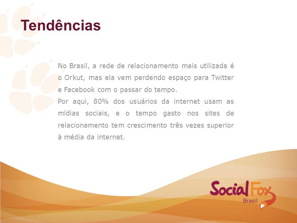 Tendências No Brasil, a rede de relacionamento mais utilizada é o Orkut, mas ela vem perdendo espaço para Twitter e Facebook com o passar do tempo. Po