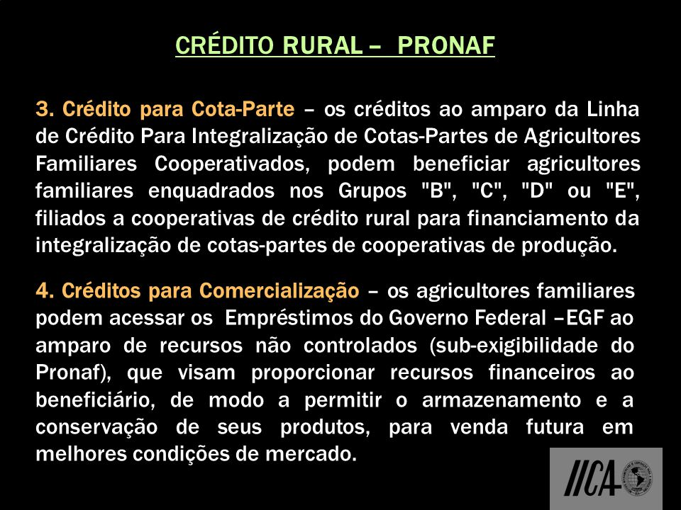 CRÉDITO RURAL – PRONAF 3.