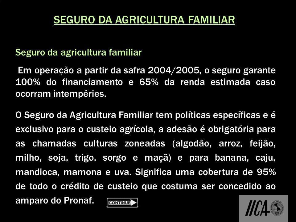 SEGURO DA AGRICULTURA FAMILIAR Seguro da agricultura familiar: Em operação a partir da safra 2004/2005, o seguro garante 100% do financiamento e 65% d