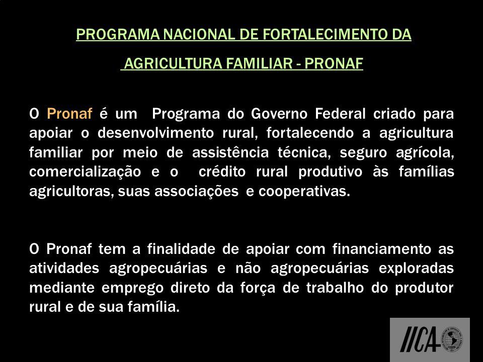 PROGRAMA NACIONAL DE FORTALECIMENTO DA AGRICULTURA FAMILIAR - PRONAF O Pronaf é um Programa do Governo Federal criado para apoiar o desenvolvimento ru