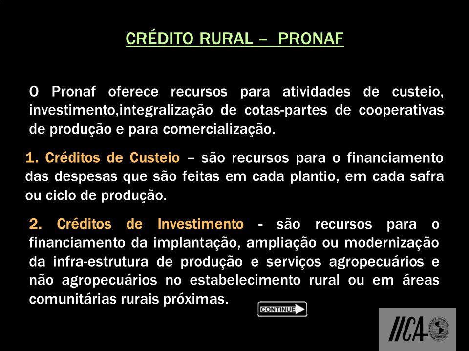 CRÉDITO RURAL – PRONAF O Pronaf oferece recursos para atividades de custeio, investimento,integralização de cotas-partes de cooperativas de produção e