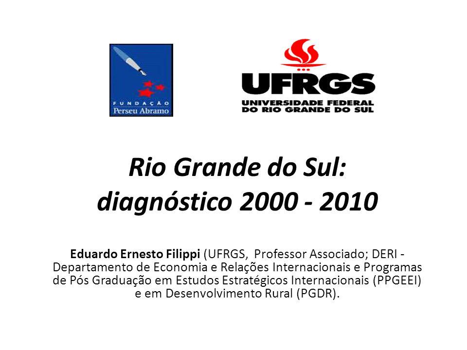 Rio Grande do Sul: diagnóstico 2000 - 2010 Eduardo Ernesto Filippi (UFRGS, Professor Associado; DERI - Departamento de Economia e Relações Internacion