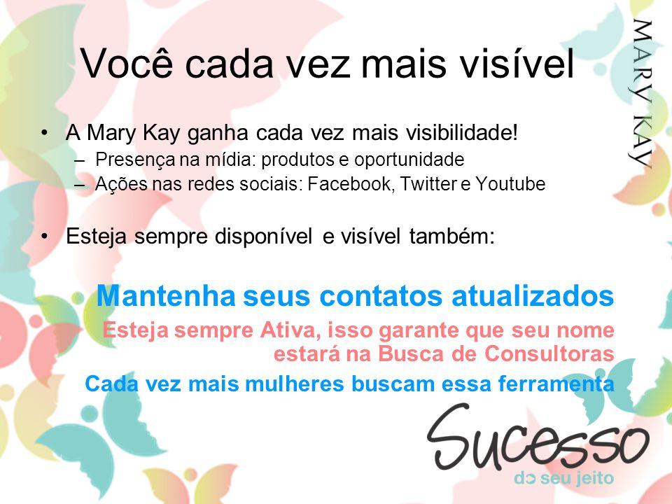 Você cada vez mais visível A Mary Kay ganha cada vez mais visibilidade! –Presença na mídia: produtos e oportunidade –Ações nas redes sociais: Facebook