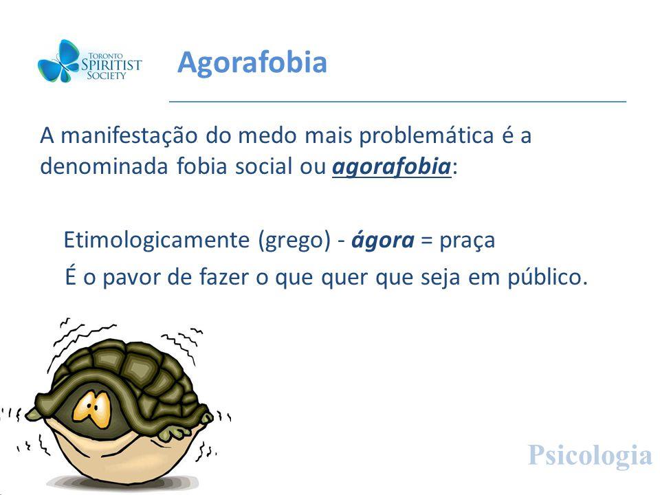 Agorafobia A manifestação do medo mais problemática é a denominada fobia social ou agorafobia: Etimologicamente (grego) - ágora = praça É o pavor de f