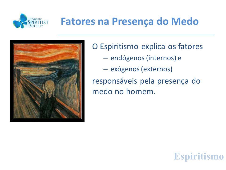 Fatores na Presença do Medo O Espiritismo explica os fatores – endógenos (internos) e – exógenos (externos) responsáveis pela presença do medo no home