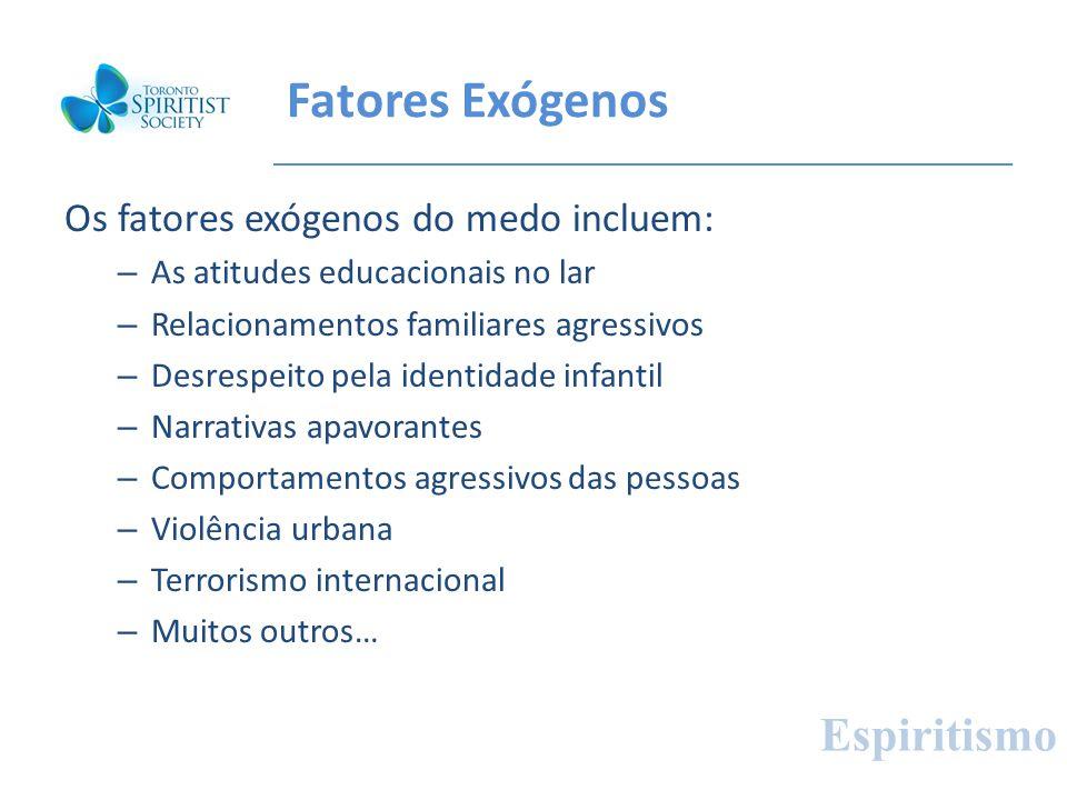 Fatores Exógenos Os fatores exógenos do medo incluem: – As atitudes educacionais no lar – Relacionamentos familiares agressivos – Desrespeito pela ide