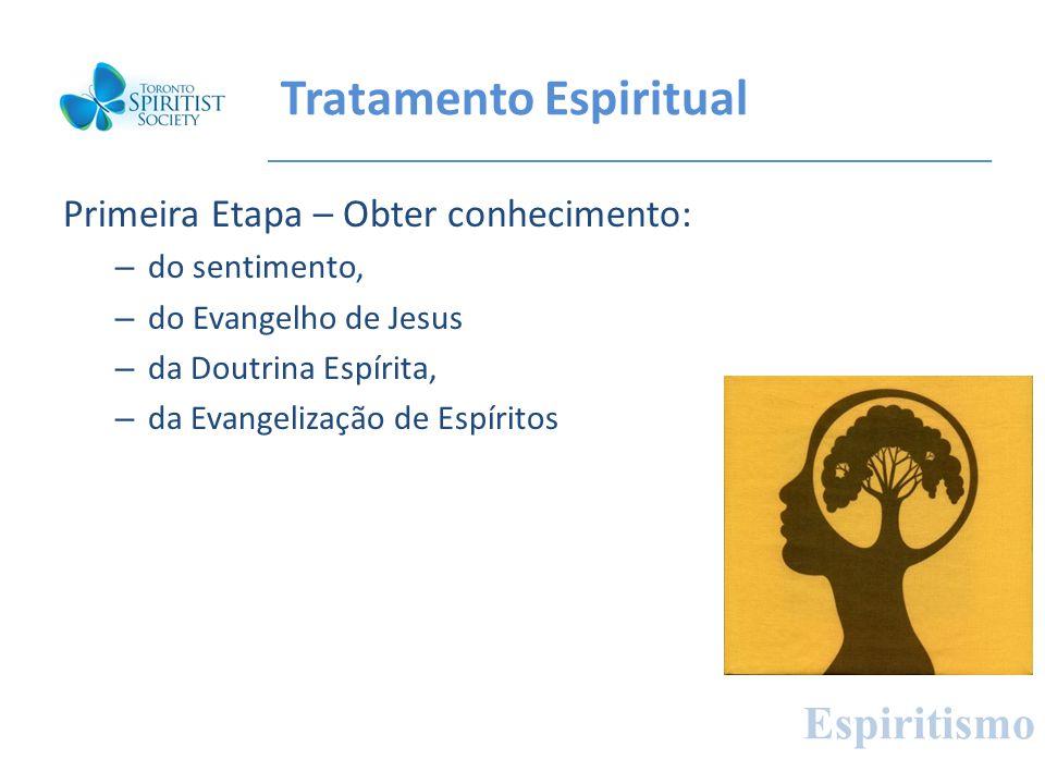 Tratamento Espiritual Primeira Etapa – Obter conhecimento: – do sentimento, – do Evangelho de Jesus – da Doutrina Espírita, – da Evangelização de Espí