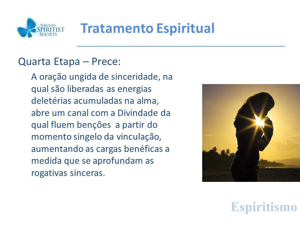 Tratamento Espiritual Quarta Etapa – Prece: A oração ungida de sinceridade, na qual são liberadas as energias deletérias acumuladas na alma, abre um c