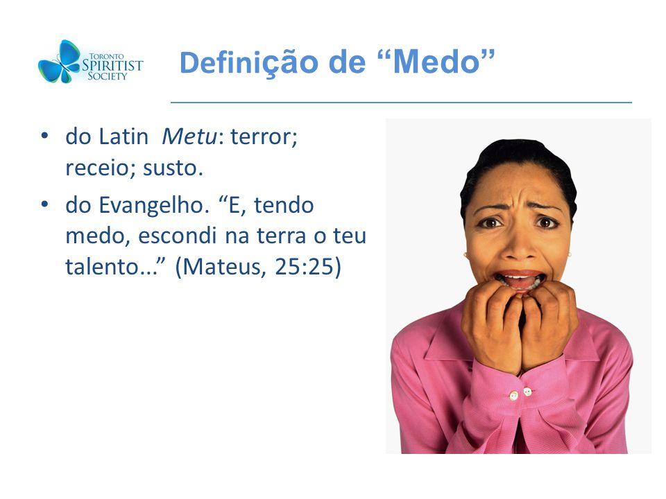 Defini ção de Medo do Latin Metu: terror; receio; susto. do Evangelho. E, tendo medo, escondi na terra o teu talento... (Mateus, 25:25)
