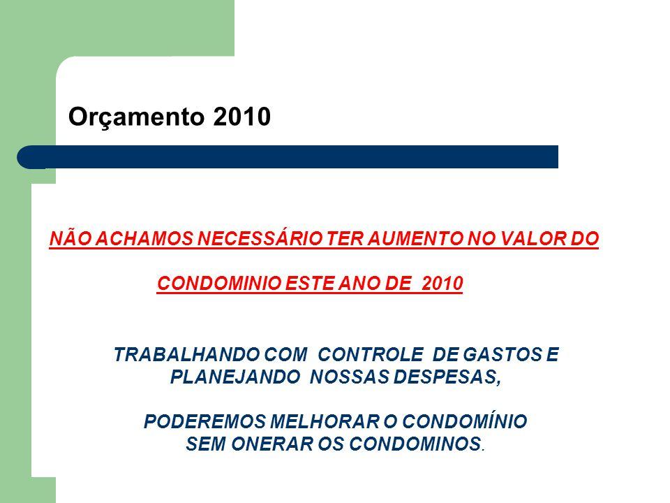 Orçamento 2010 NÃO ACHAMOS NECESSÁRIO TER AUMENTO NO VALOR DO CONDOMINIO ESTE ANO DE 2010 TRABALHANDO COM CONTROLE DE GASTOS E PLANEJANDO NOSSAS DESPESAS, PODEREMOS MELHORAR O CONDOMÍNIO SEM ONERAR OS CONDOMINOS.