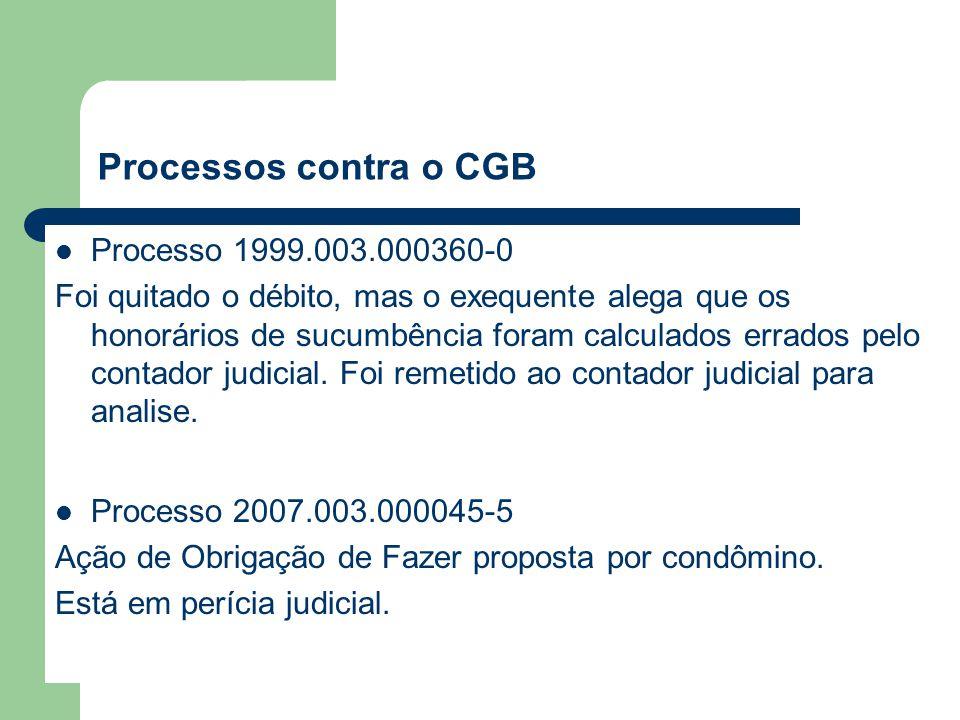Processos contra o CGB Processo 1999.003.000360-0 Foi quitado o débito, mas o exequente alega que os honorários de sucumbência foram calculados errados pelo contador judicial.