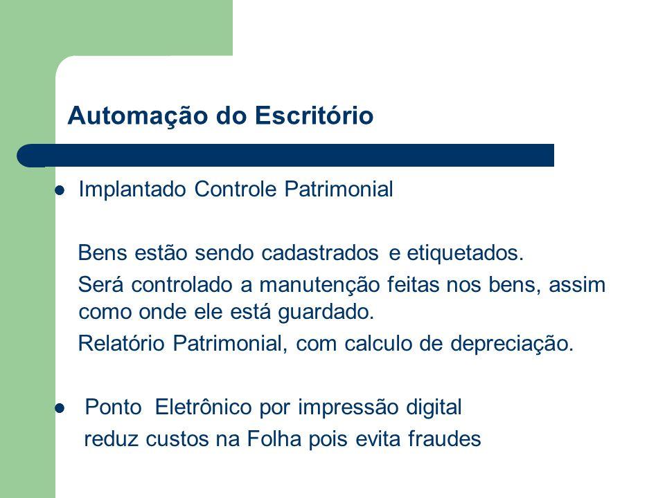 Automação do Escritório Implantado Controle Patrimonial Bens estão sendo cadastrados e etiquetados.