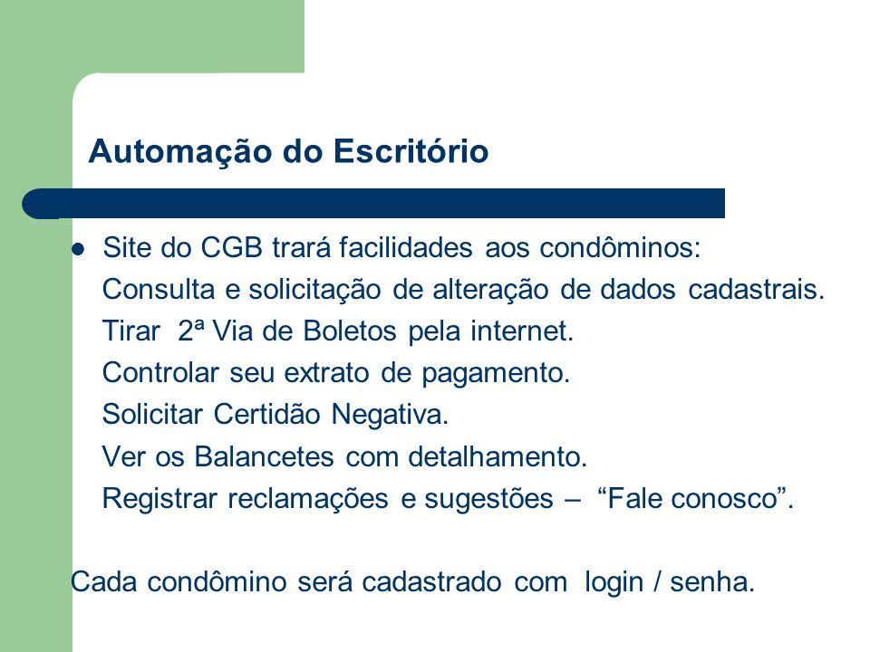 Automação do Escritório Site do CGB trará facilidades aos condôminos: Consulta e solicitação de alteração de dados cadastrais.