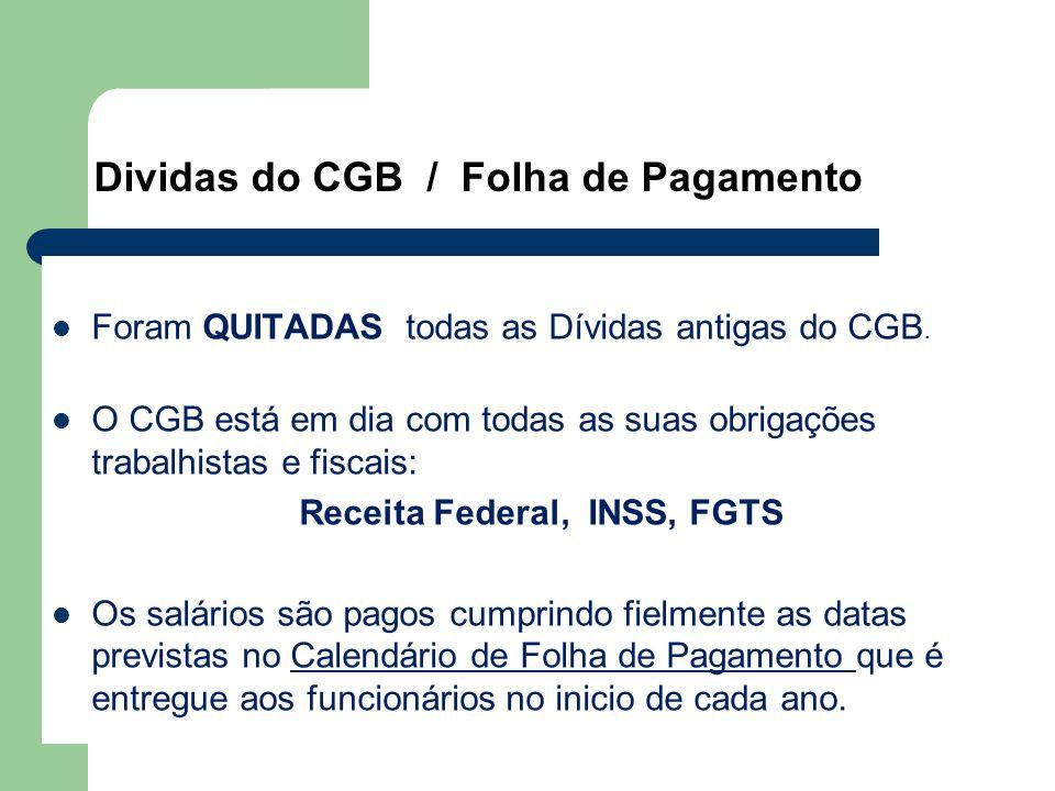 Dividas do CGB / Folha de Pagamento Foram QUITADAS todas as Dívidas antigas do CGB.