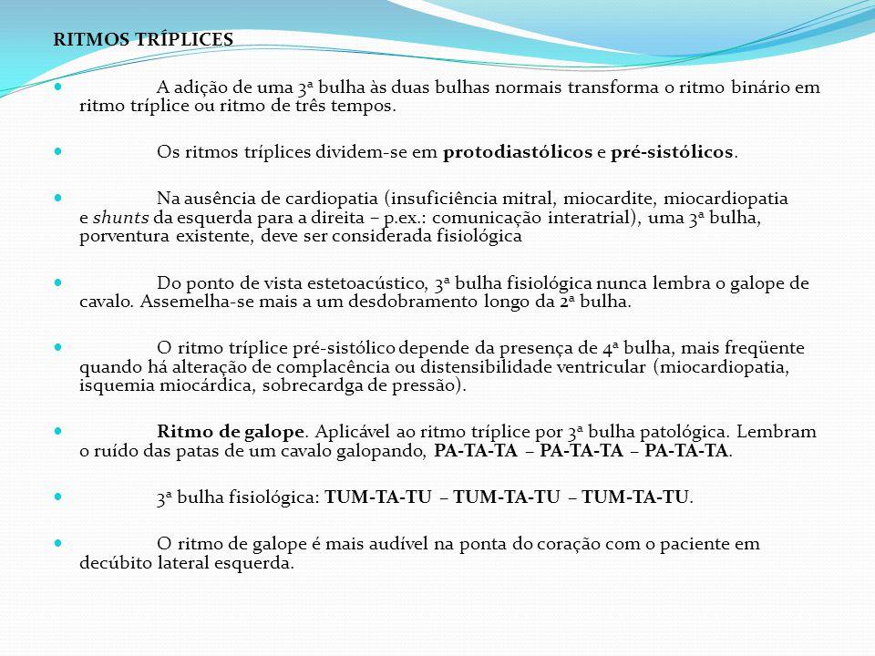 RITMOS TRÍPLICES A adição de uma 3 a bulha às duas bulhas normais transforma o ritmo binário em ritmo tríplice ou ritmo de três tempos. Os ritmos tríp