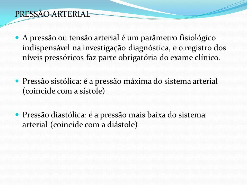 PRESSÃO ARTERIAL A pressão ou tensão arterial é um parâmetro fisiológico indispensável na investigação diagnóstica, e o registro dos níveis pressórico