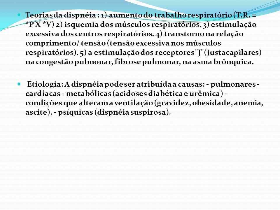 Teorias da dispnéia : 1) aumento do trabalho respiratório (T.R. = *P X *V) 2) isquemia dos músculos respiratórios. 3) estimulação excessiva dos centro