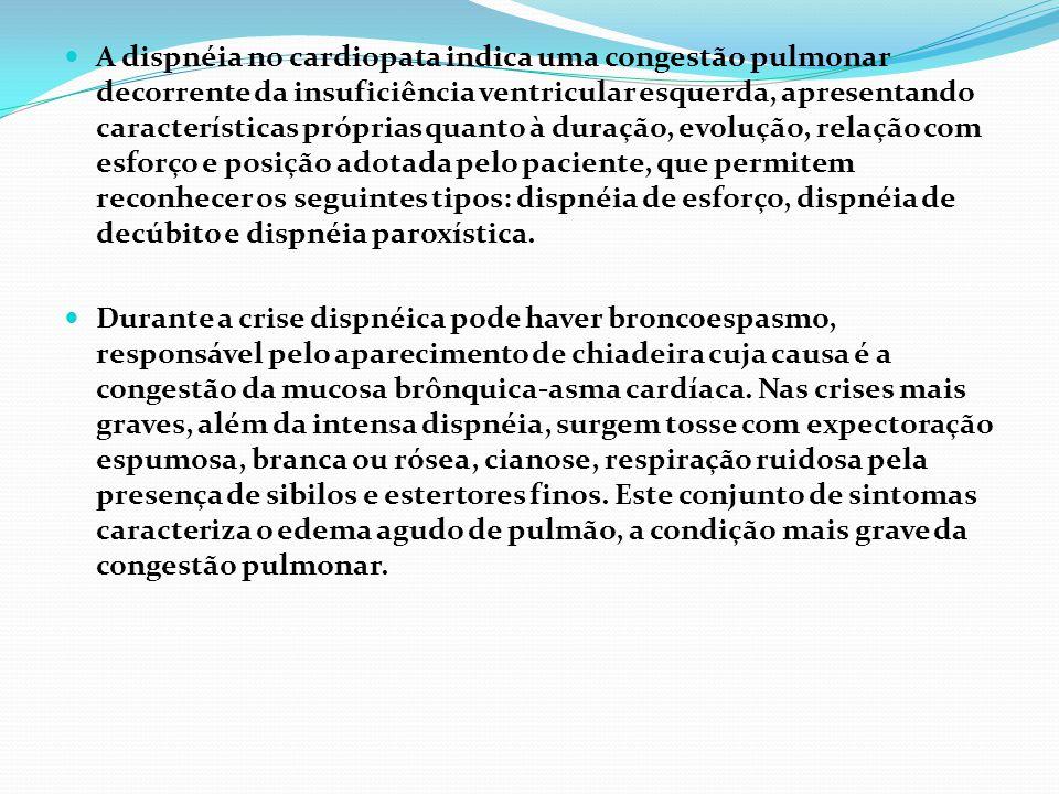 A dispnéia no cardiopata indica uma congestão pulmonar decorrente da insuficiência ventricular esquerda, apresentando características próprias quanto