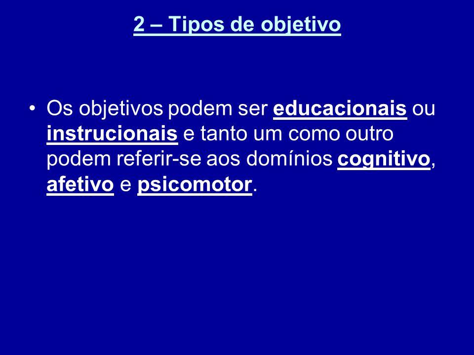 2 – Tipos de objetivo Os objetivos podem ser educacionais ou instrucionais e tanto um como outro podem referir-se aos domínios cognitivo, afetivo e psicomotor.