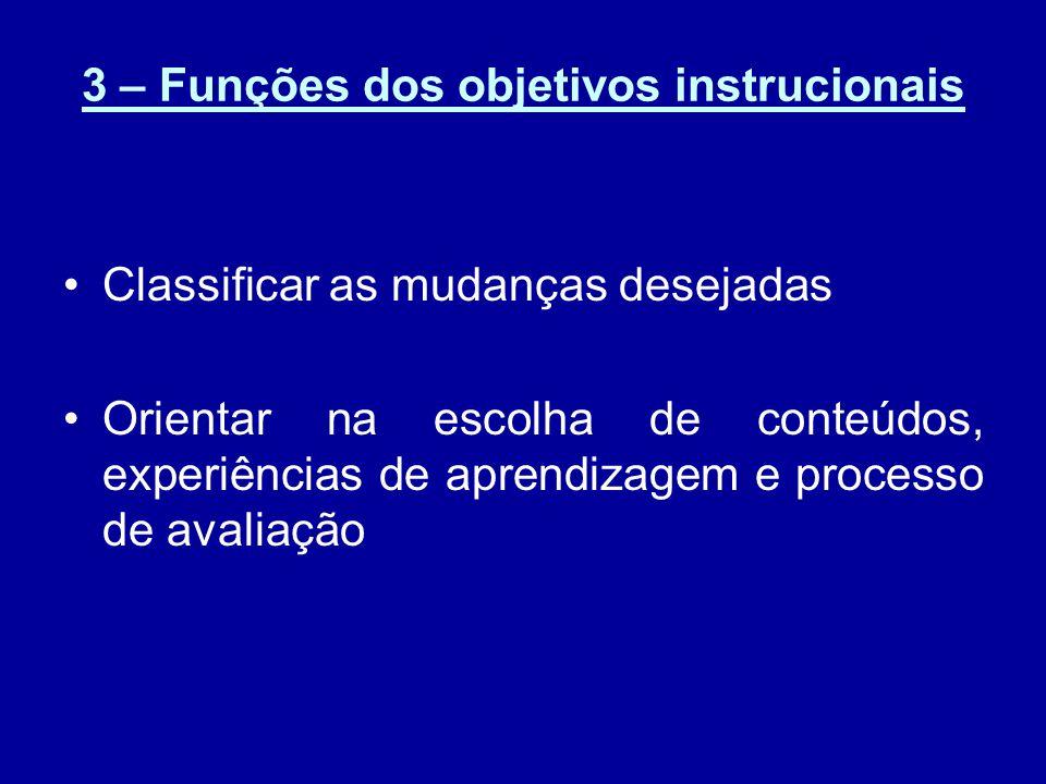 3 – Funções dos objetivos instrucionais Classificar as mudanças desejadas Orientar na escolha de conteúdos, experiências de aprendizagem e processo de