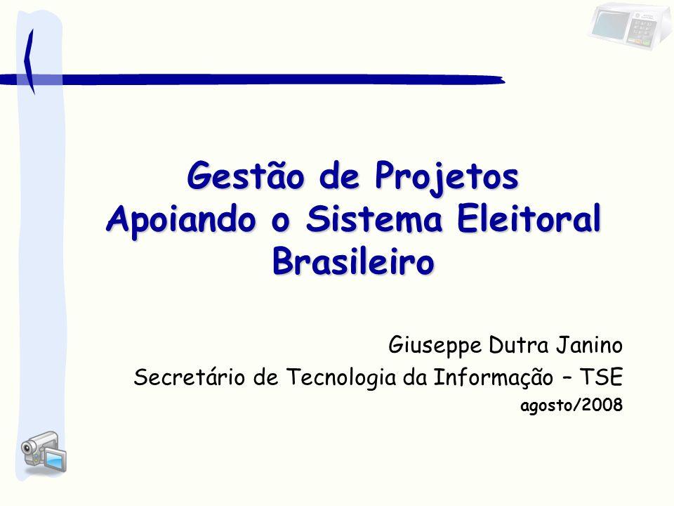 Agenda 1.Direcionamento Institucional 2.O Processo Eleitoral no Brasil 3.A Adoção do Voto Informatizado 4.A Logística Eleitoral 5.Planejamento X Projetos 6.Gestão de Projetos 7.Escritório de Projetos Apoiando o Sistema Eleitoral Brasileiro 8.Implementação do EP na Justiça Eleitoral