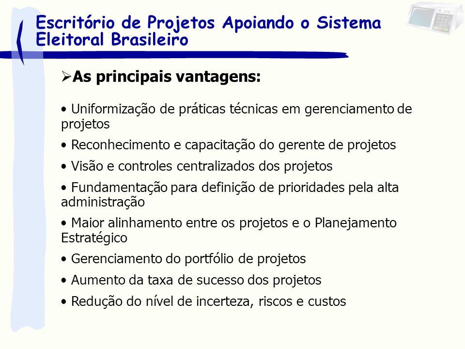 As principais vantagens: Uniformização de práticas técnicas em gerenciamento de projetos Reconhecimento e capacitação do gerente de projetos Visão e c