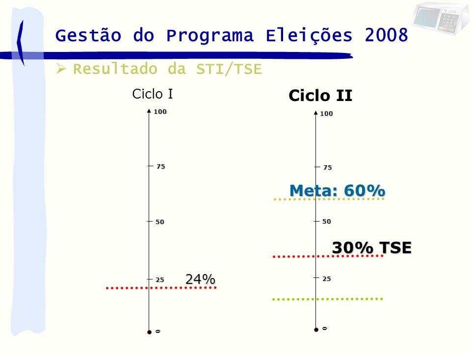 Gestão do Programa Eleições 2008 25 0 100 75 50 24% Ciclo I Resultado da STI/TSE Ciclo II25 0 100 75 50 Meta: 60% 30% TSE