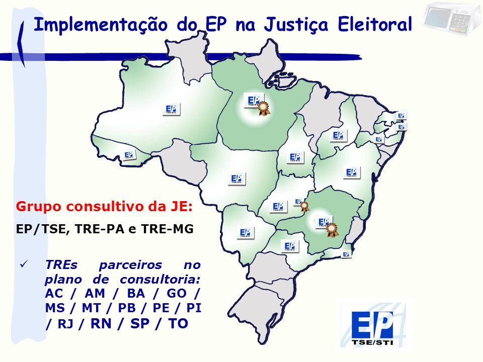 Implementação do EP na Justiça Eleitoral Grupo consultivo da JE: EP/TSE, TRE-PA e TRE-MG TREs parceiros no plano de consultoria: AC / AM / BA / GO / M