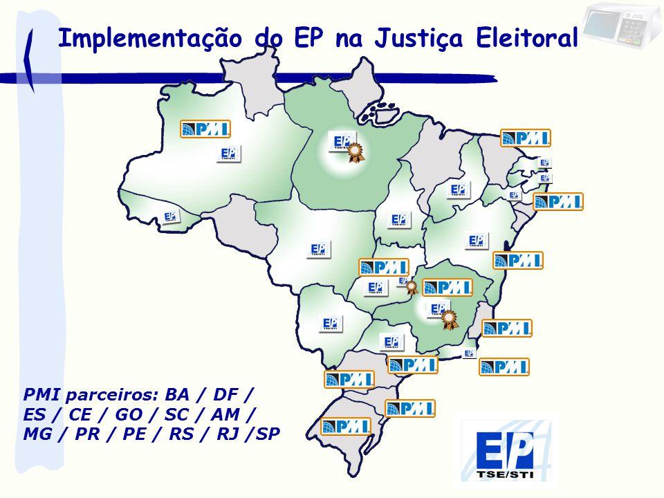 Implementação do EP na Justiça Eleitoral PMI parceiros: BA / DF / ES / CE / GO / SC / AM / MG / PR / PE / RS / RJ /SP