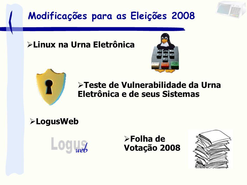 Linux na Urna Eletrônica Modificações para as Eleições 2008 Teste de Vulnerabilidade da Urna Eletrônica e de seus Sistemas LogusWeb Folha de Votação 2