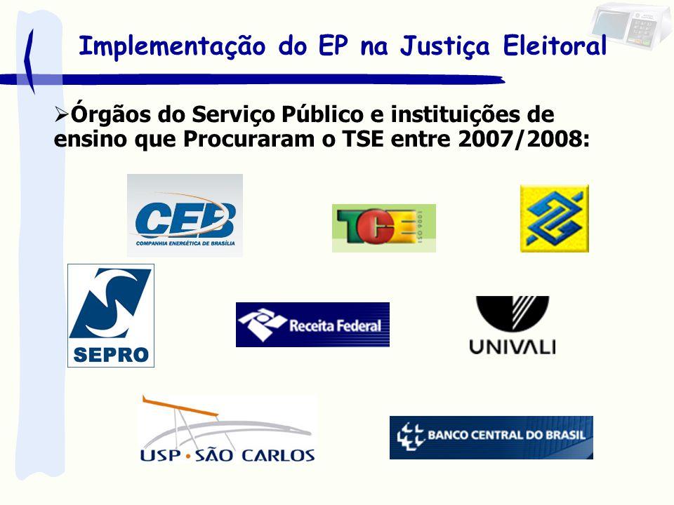 Implementação do EP na Justiça Eleitoral Órgãos do Serviço Público e instituições de ensino que Procuraram o TSE entre 2007/2008: