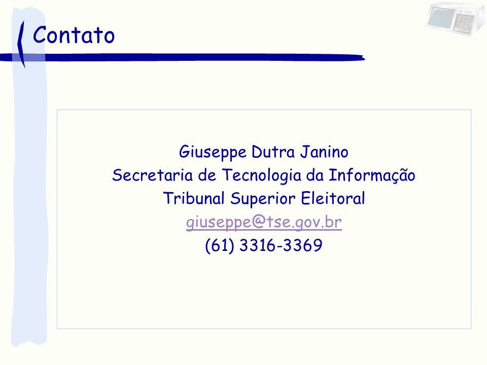 Contato Giuseppe Dutra Janino Secretaria de Tecnologia da Informação Tribunal Superior Eleitoral giuseppe@tse.gov.br (61) 3316-3369
