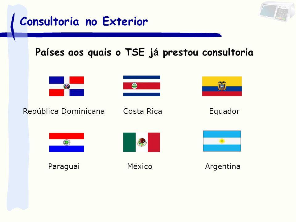 Países que procuraram o TSE para conhecer nossa solução: JapãoPeru PortugalVenezuela CoréiaPanamá FrançaTimor Leste UcrâniaDelegação Países Africanos Turquia Tunísia Bolívia Colômbia Consultoria no Exterior
