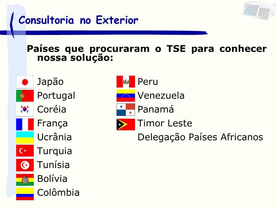 Países que procuraram o TSE para conhecer nossa solução: JapãoPeru PortugalVenezuela CoréiaPanamá FrançaTimor Leste UcrâniaDelegação Países Africanos